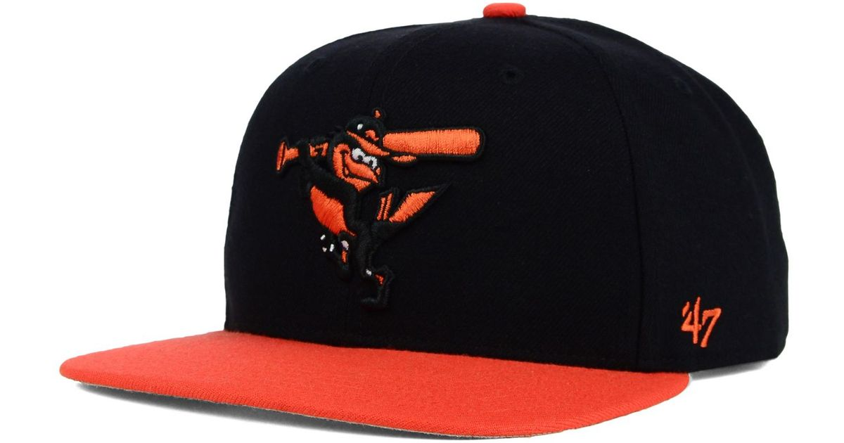 4a1189fe3bc12 ... get lyst 47 brand baltimore orioles sure shot snapback cap in black for  men d2486 70fa3