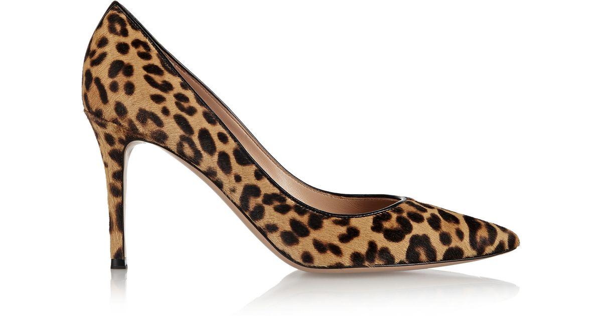 Denim 85 Leopard-print Calf Hair Pumps