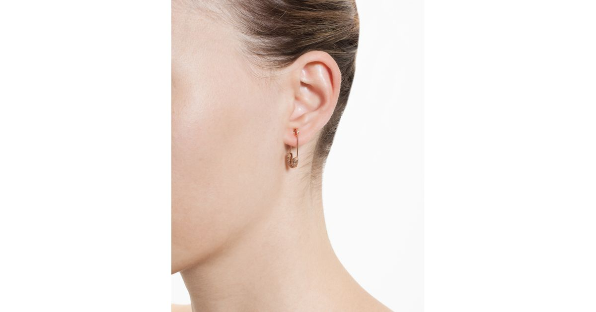 Lyst Rosa De La Cruz 18k Rose Gold And Diamond Safety Pin Earring In Pink