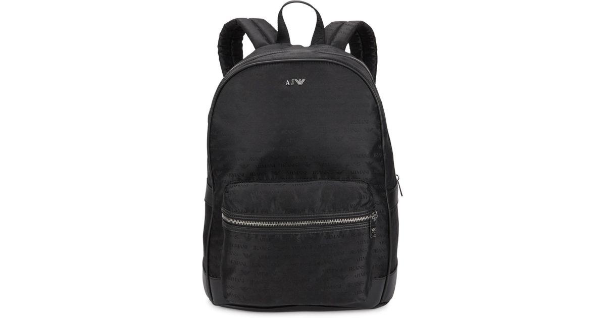5b5952cd8075 Armani Jeans Black Monogrammed Nylon Backpack in Black for Men - Lyst