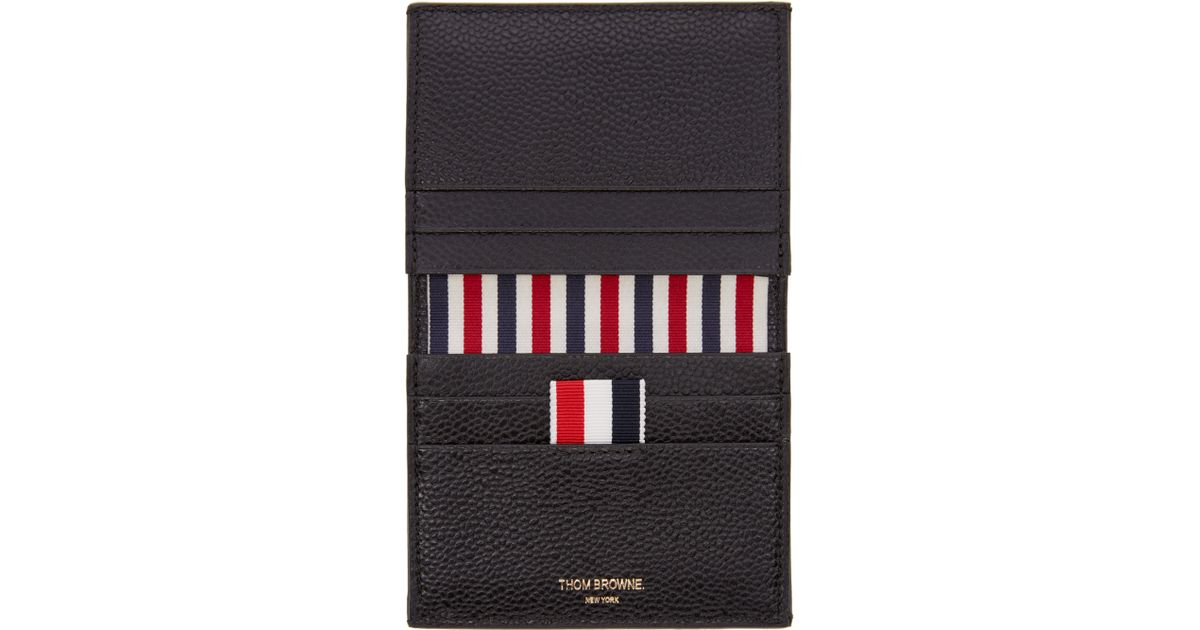 lyst thom browne black striped bifold card holder in black for men - Thom Browne Card Holder