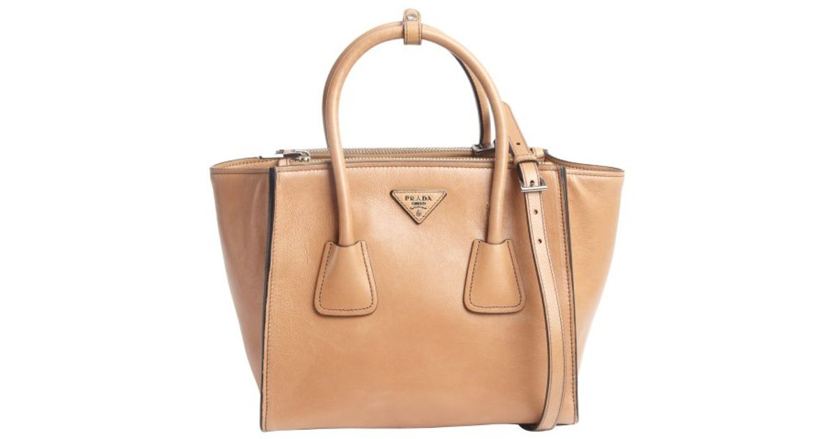 d093b601ddef5e usa prada diagramme leather shoulder bag 5b0d3 1f70f; italy lyst prada  natural leather logo stamp top handle tote in brown 4584f 45797