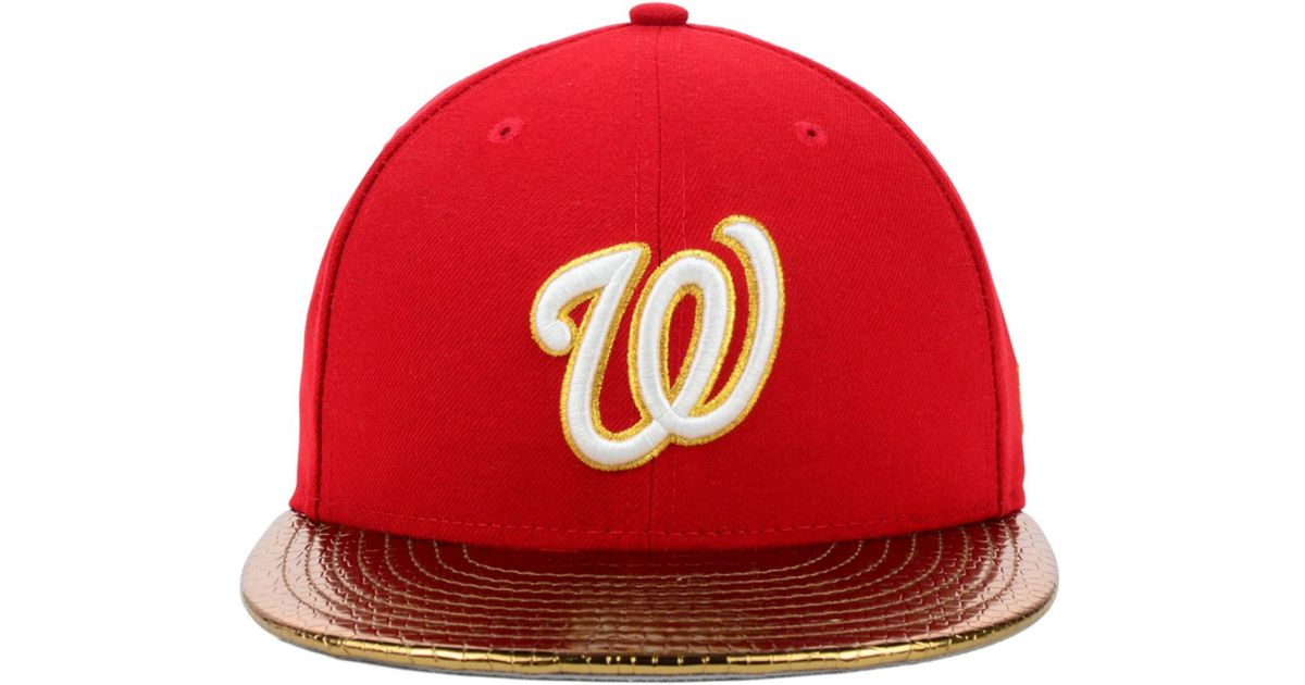 best sneakers 6b5e6 78eb5 ... c dub 59fifty red 01403 b0974  switzerland czech lyst ktz washington  nationals mlb metallic slither 59fifty cap in red for men bbaec