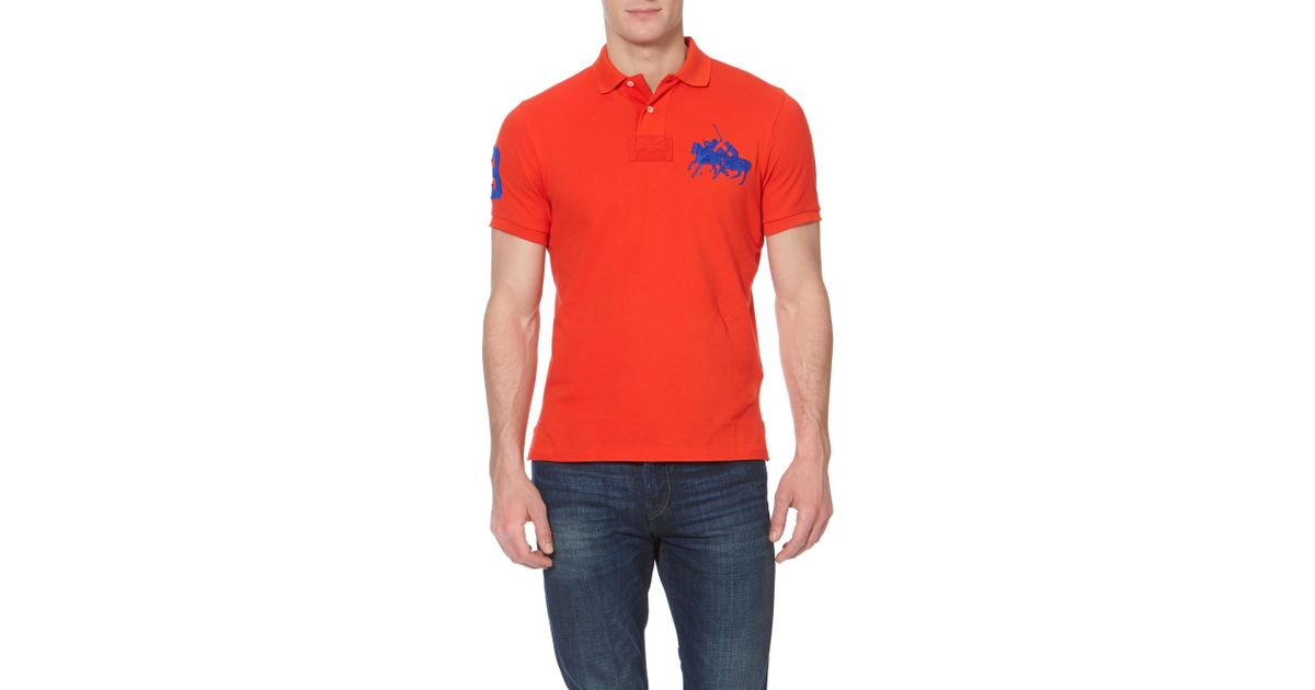 Polo ralph lauren Custom Fit End 3 Sleeve Dual Match Polo Shirt in Red for Men | Lyst
