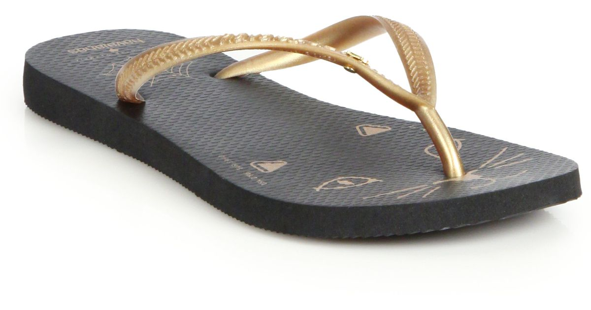 Jil Sander Beige & Gold Havaianas Edition Kitty Sandals j1i1sp