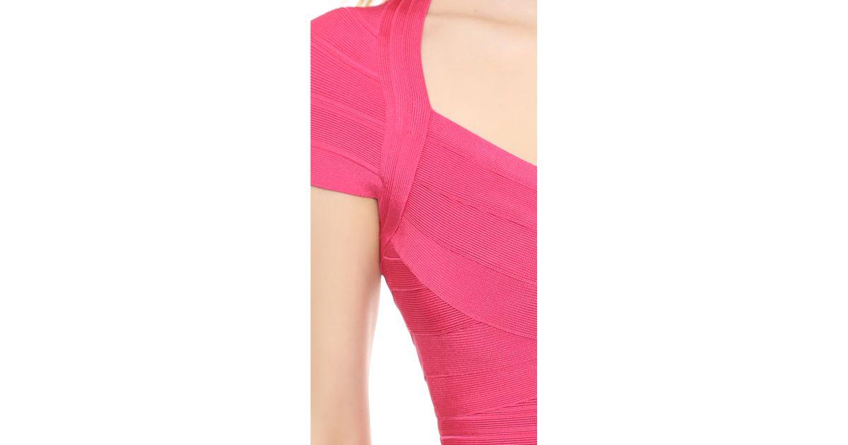 Lyst - Hervé Léger Karin Cap Sleeve Gown - Bright Pink in Pink