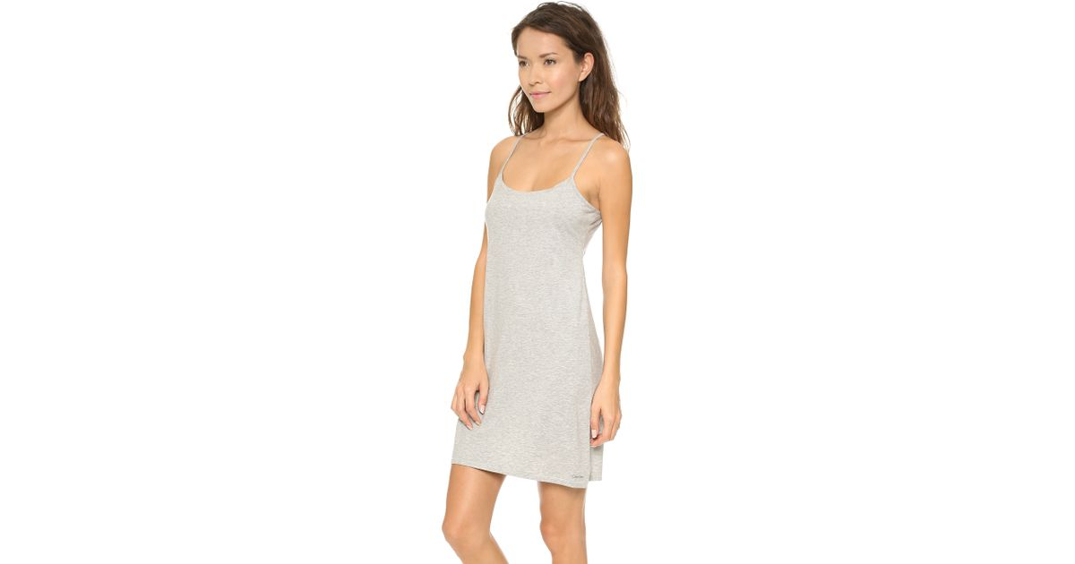 b75b54b0a7 Lyst - Calvin Klein Modern Cotton Night Dress - Grey Heather in Gray