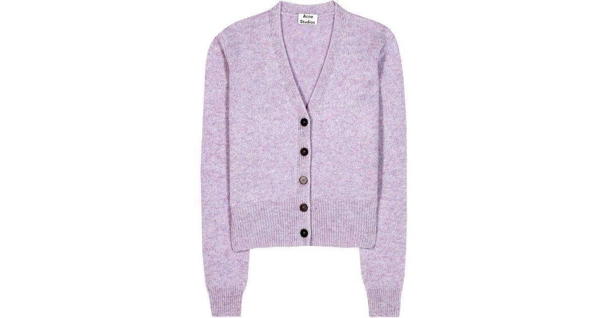Acne studios Pashmina Wool Cardigan in Pink | Lyst