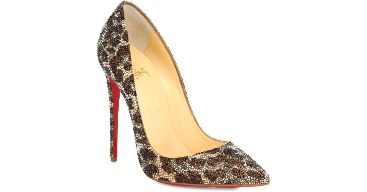 d3c13e806f3a Christian Louboutin So Kate Leopard-Print Crystal Pumps - Lyst