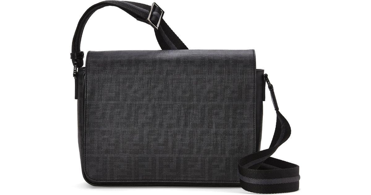 3a597235397 Fendi Black Zucca Flap-Top Messenger Bag in Black for Men - Lyst