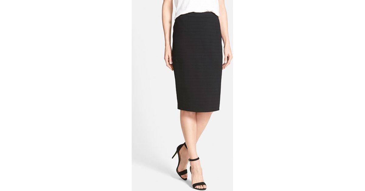 5fa25e68c Lyst - Halogen Back Zip Stripe Ponte Pencil Skirt in Black