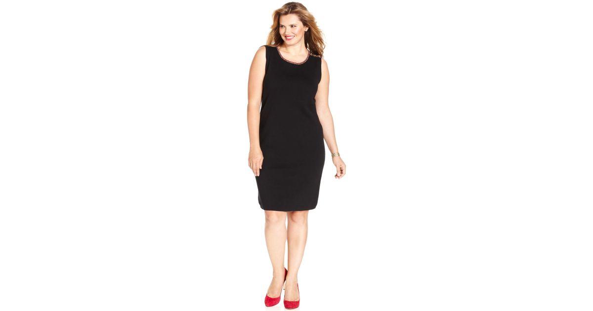 Jones New York Black Signature Plus Size Sleeveless Sweater Dress
