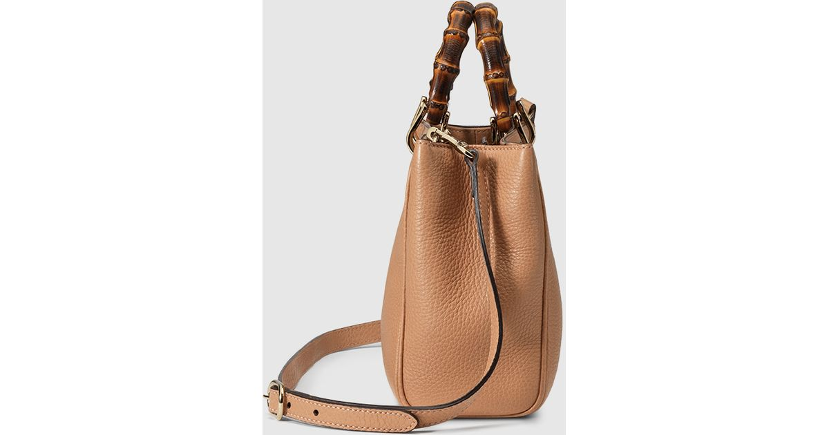 a0573304cfe4 Lyst - Gucci Bamboo Shopper Mini Leather Top Handle Bag in Natural