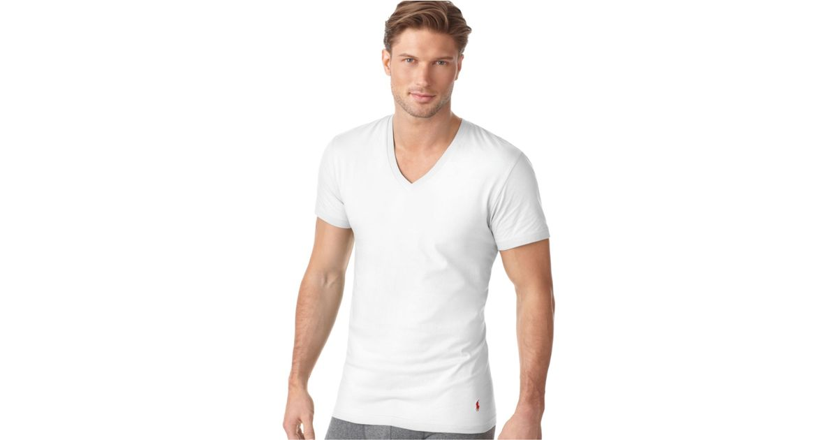 63f2b18c95 Polo Ralph Lauren White Ralph Lauren Men'S Underwear, Classic Cotton V Neck  T Shirt 3 Pack for men