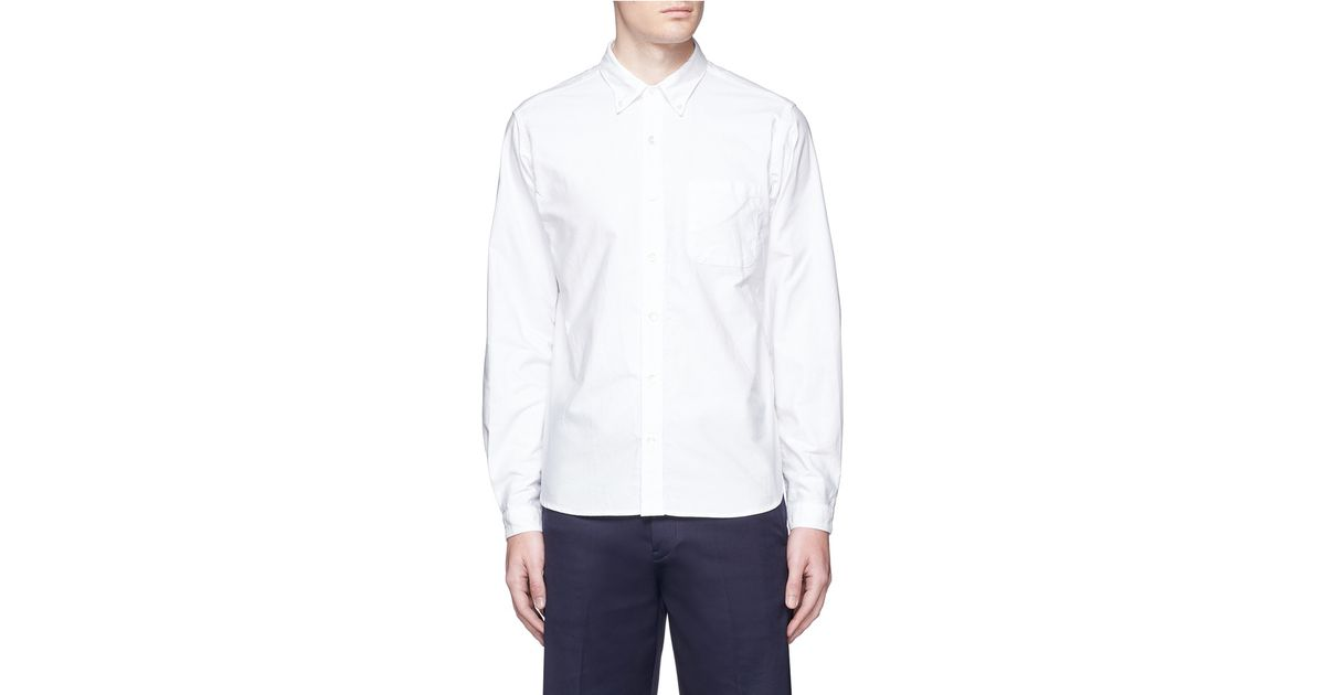 Nanamica button down collar cotton oxford wind shirt in for White button down collar oxford shirt