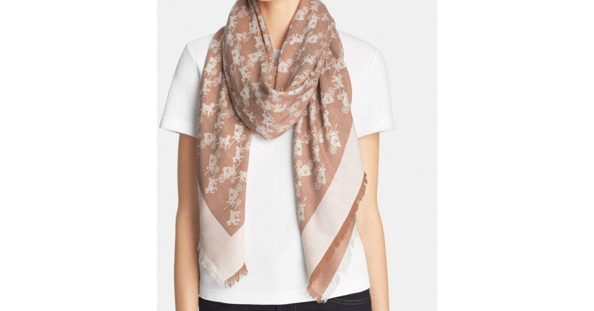 99a7522ced6ba COACH Horse & Carriage Oversized Square Scarf in Natural - Lyst