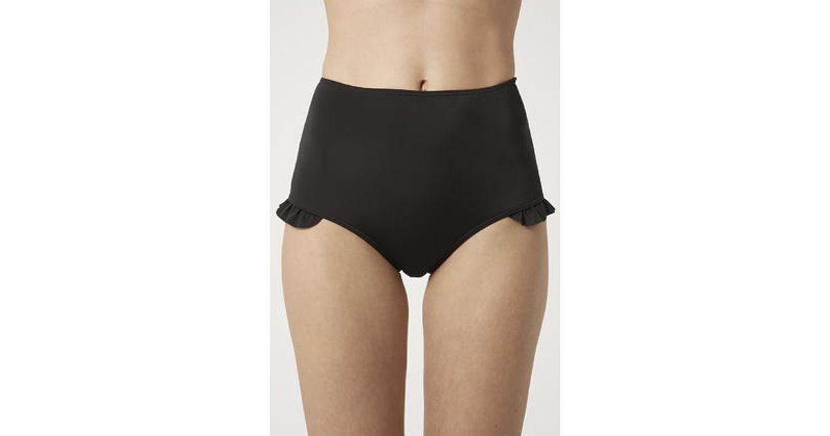 Lyst - TOPSHOP Frill High-Waisted Bikini Bottoms in Black ad6ef19b9