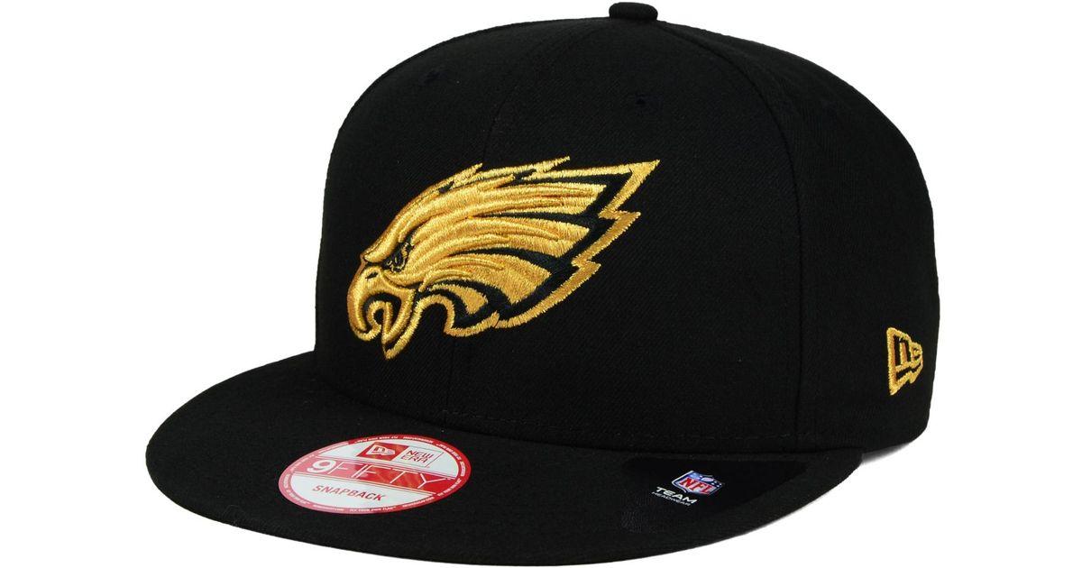 18dcf2323 sweden lyst ktz philadelphia eagles black metallic gold 9fifty snapback cap  in black for men 7ff01