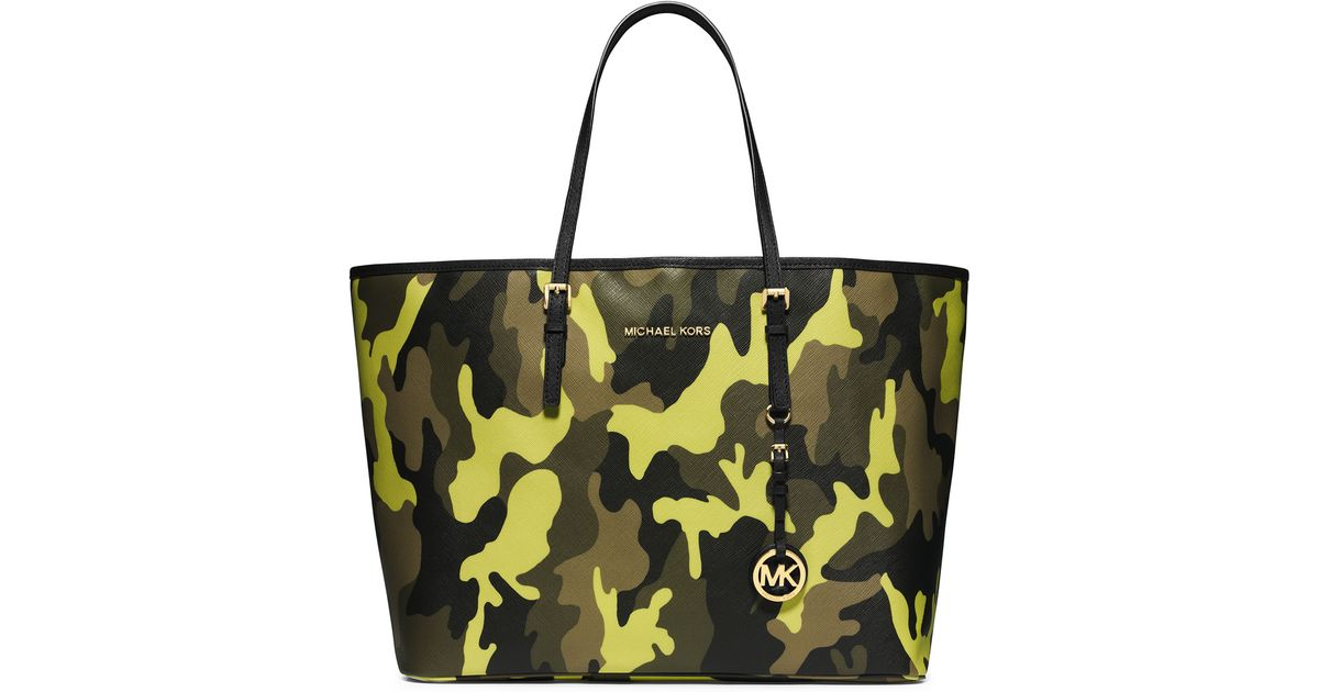 2c09d57cd436 MICHAEL Michael Kors Medium Jet Set Camo Travel Tote in Yellow - Lyst