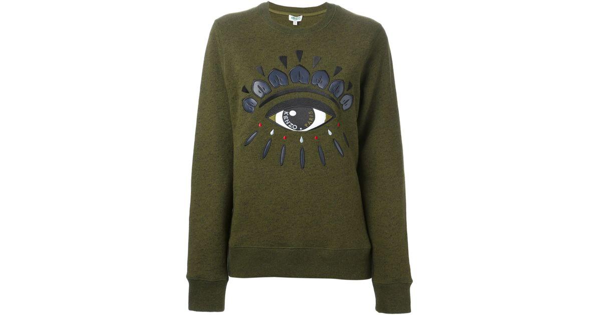 b90fecb83 KENZO Embroidered Eye Sweatshirt in Green - Lyst