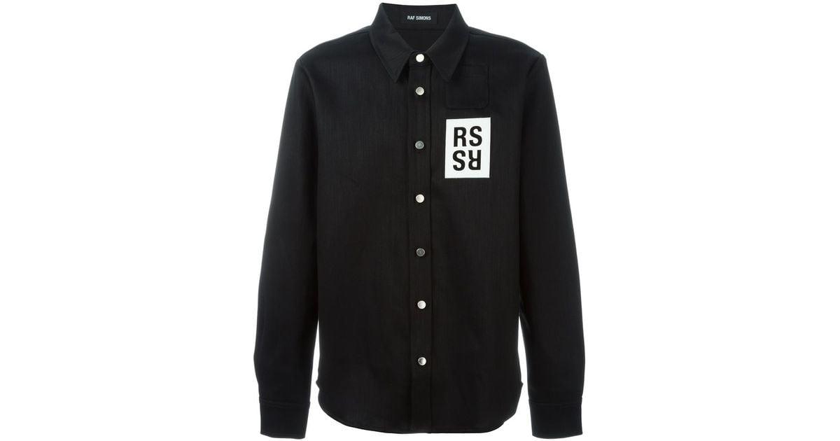 029394ea04 Lyst - Raf Simons Chest-Patch Denim Shirt in Black for Men
