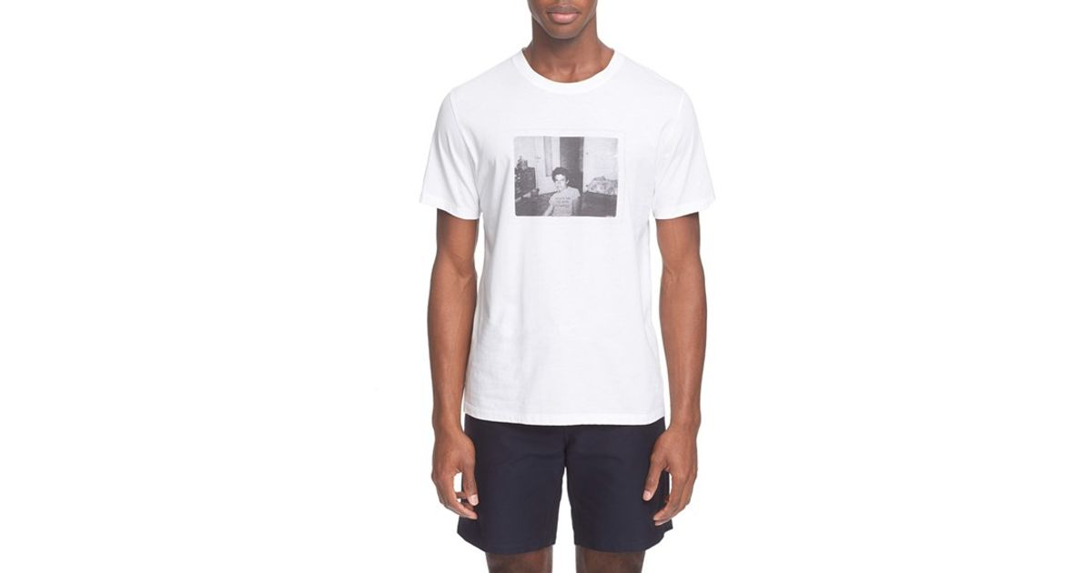 A p c 39 cy levi 39 graphic t shirt in white for men lyst for Apc white t shirt