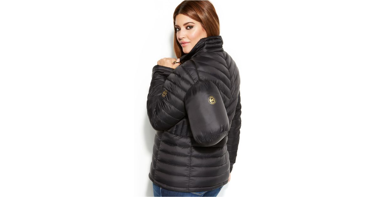 3190b85d0 Michael Kors Black Michael Plus Size Packable Quilted Down Puffer Coat