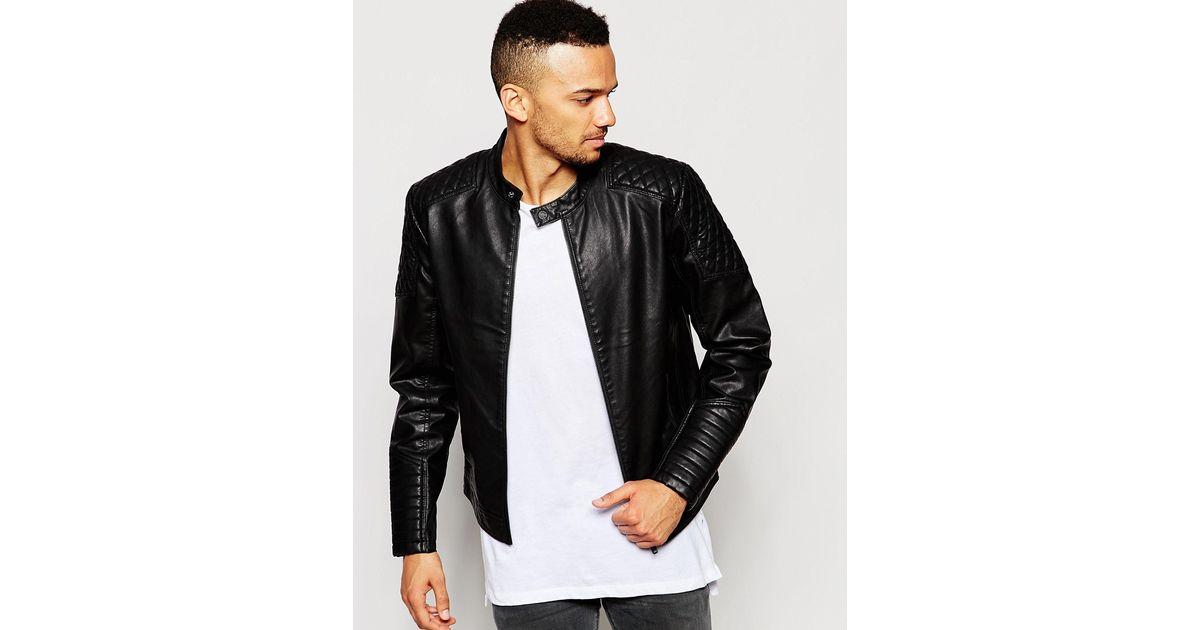 4b524de10 Jack & Jones Black Faux Leather Biker Jacket With Quilted Sleeves for men
