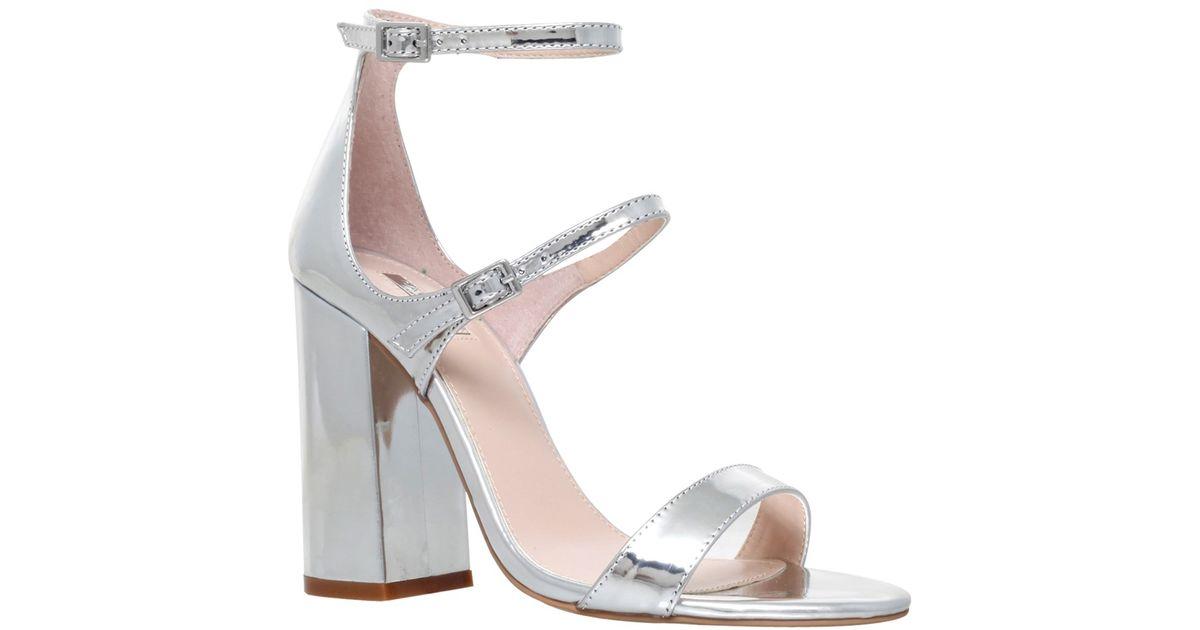 7c8c03c0b3c Carvela Kurt Geiger Genetic Double Strap Block Heeled Sandals in Metallic -  Lyst