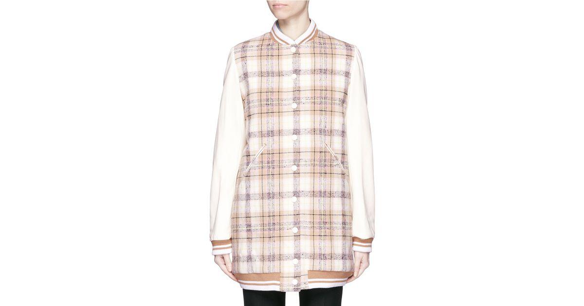 14e1cf815 Chloé Pink Plaid Check Wool Bomber Coat