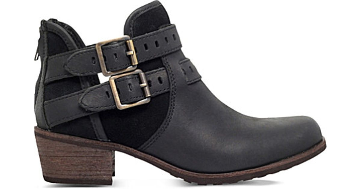 8dc30c7f89e UGG Black Patsy Leather Ankle Boots