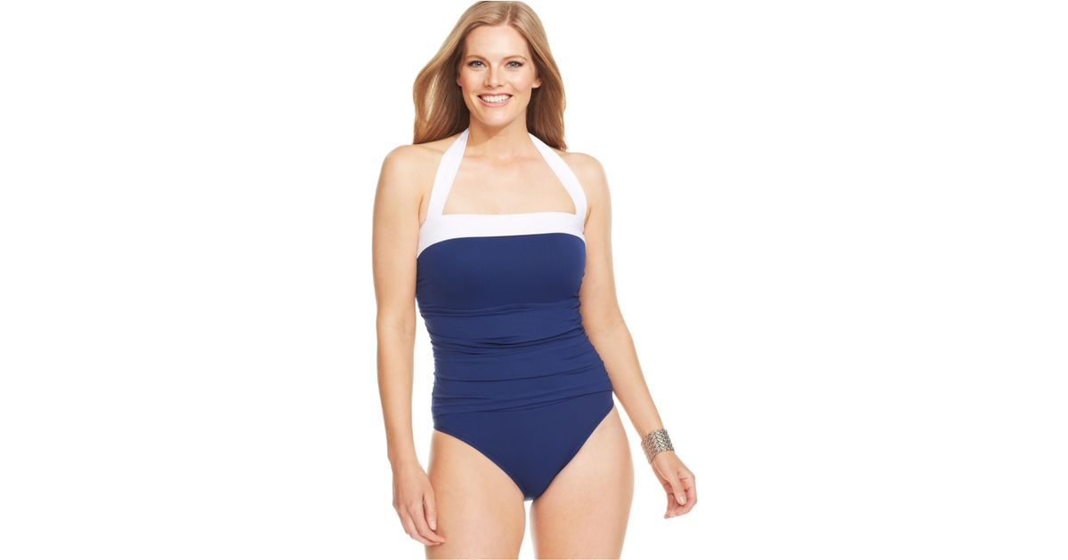 edc63ba54b Lauren by Ralph Lauren Plus Size Ruched Tummy Control Halter Onepiece  Swimsuit in Blue - Lyst