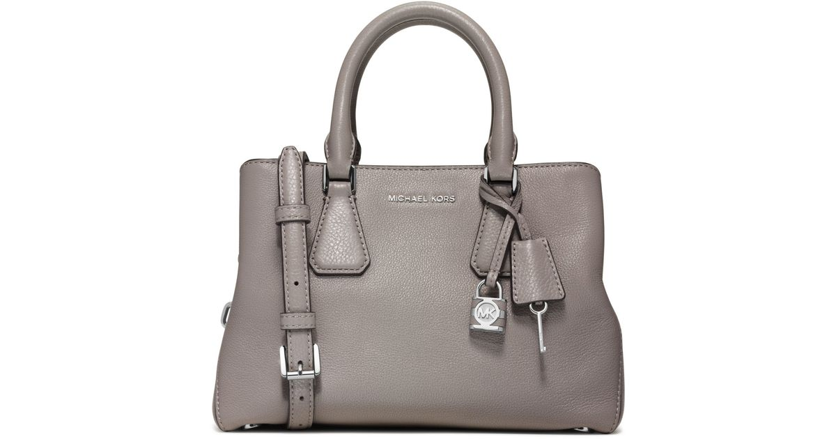 1dd6aaf431c3 Michael Kors Camille Small Leather Satchel in Gray - Lyst