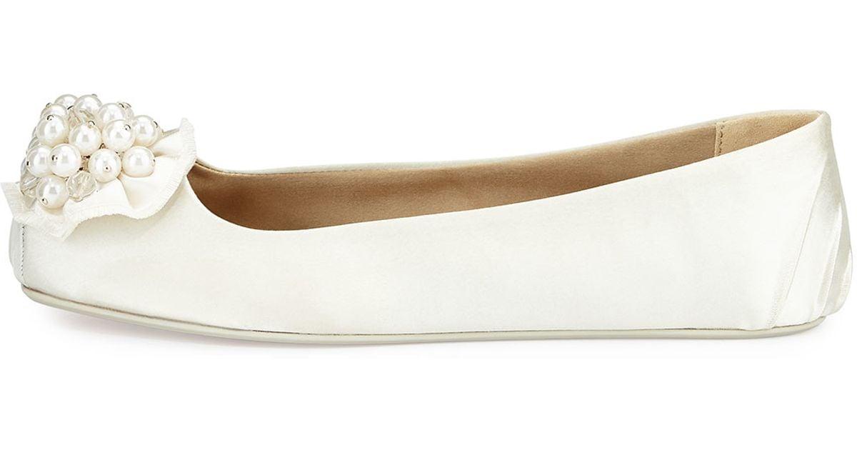41092f14d6b6 Lyst - Kate Spade Fanna Satin Flat Slipper in White