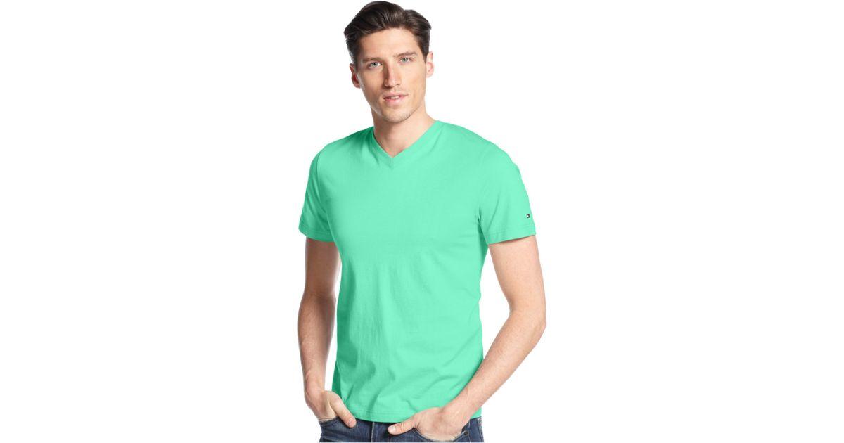 tommy hilfiger men 39 s elmira v neck t shirt in green for. Black Bedroom Furniture Sets. Home Design Ideas