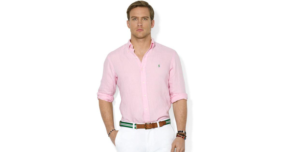 d7f9e7a5b0 Lyst - Ralph Lauren Polo Customfit Linen Sport Shirt in Pink for Men