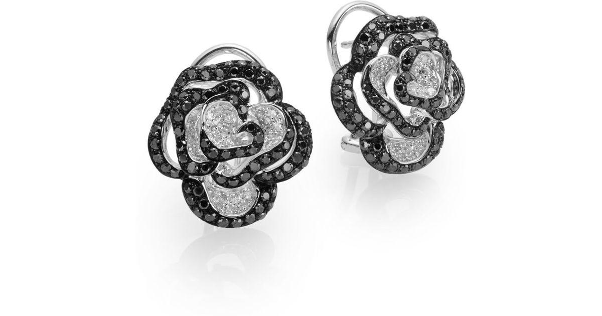 Effy Black & White Diamond & 14k White Gold Rose Earrings in Black