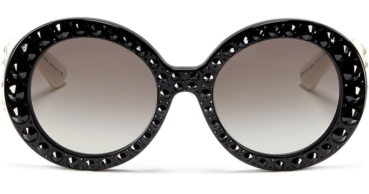 0c11ac6000af ... coupon lyst prada ornate crystal oversized acetate sunglasses in black  ad38a d31b3