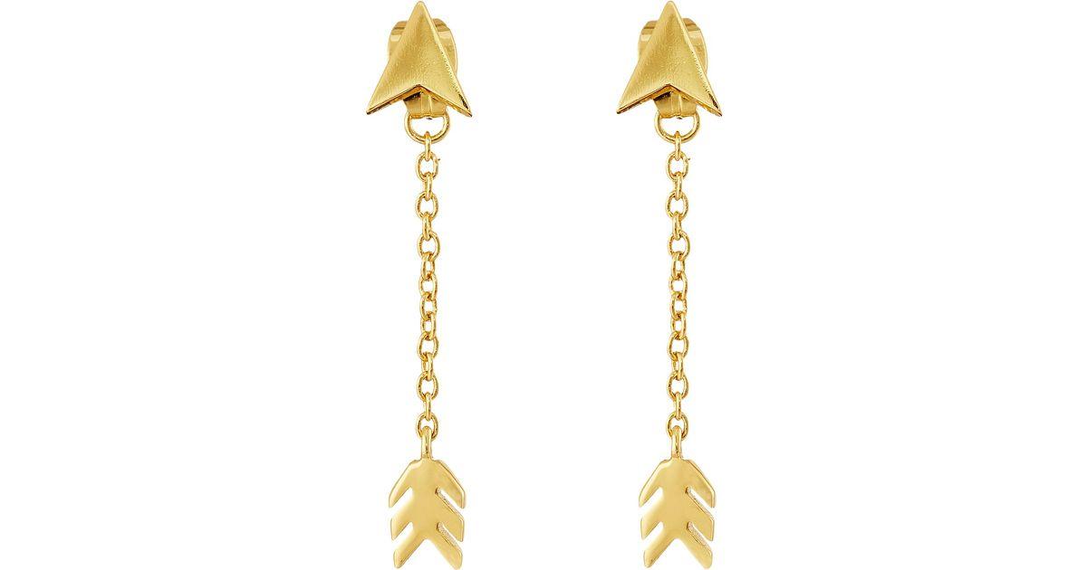 Lyst - Gorjana Arrow Chain Double Stud Earrings in Metallic
