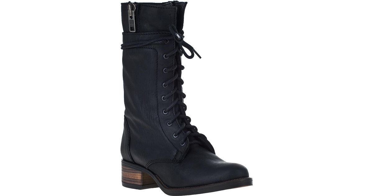fd79dccd3e2 Steve Madden Battell Lace-Up Boot Black Leather