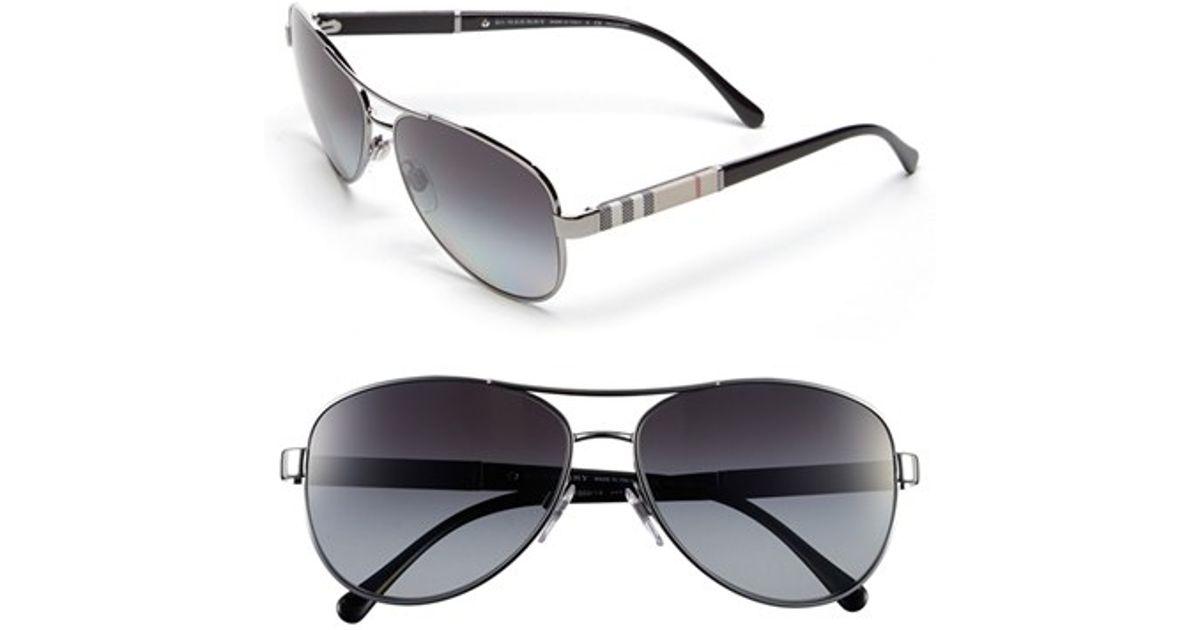 e8b7d745fd2 Lyst - Burberry  london Check  59mm Metal Aviator Polarized Sunglasses -  Gunmetal (nordstrom Exclusive) in Metallic