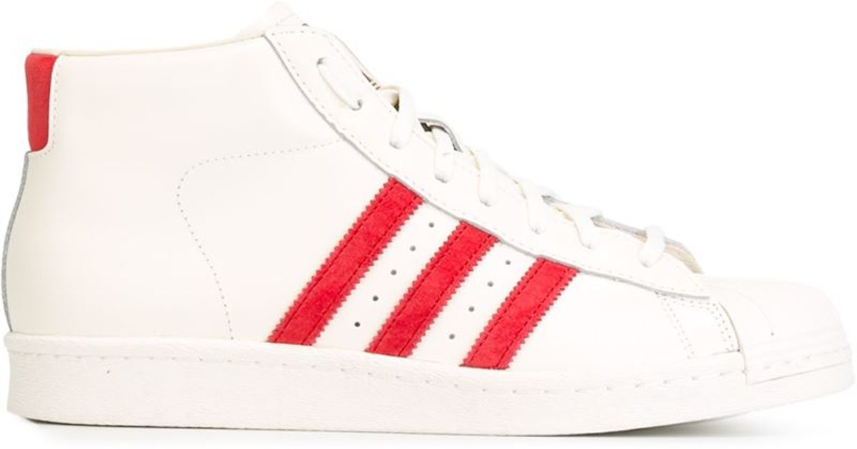 Classic Striped High Natural Adidas Top Lyst In Sneakers H5F1w1