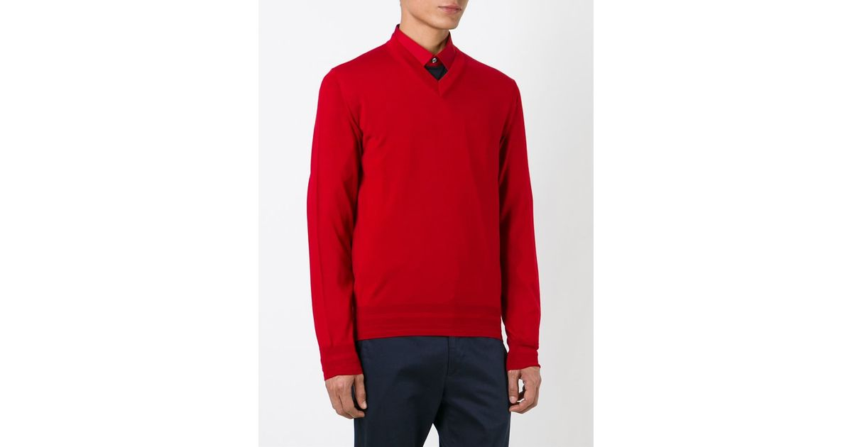 6b59e71e8bd2 Lyst - Brioni V-neck Sweater in Red for Men