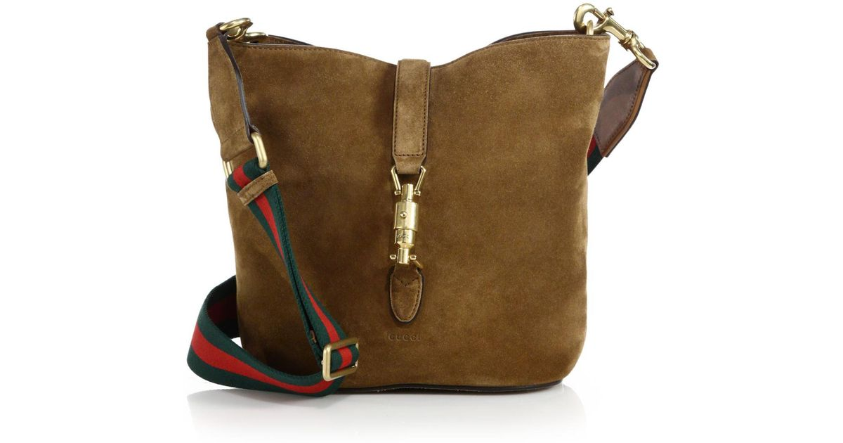 047b6a20420 Lyst - Gucci Jackie Soft Suede Bucket Bag in Brown