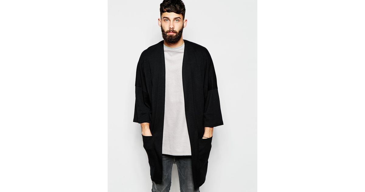 Asos Oversized Kimono Cardigan In Slub Jersey in Black for Men | Lyst