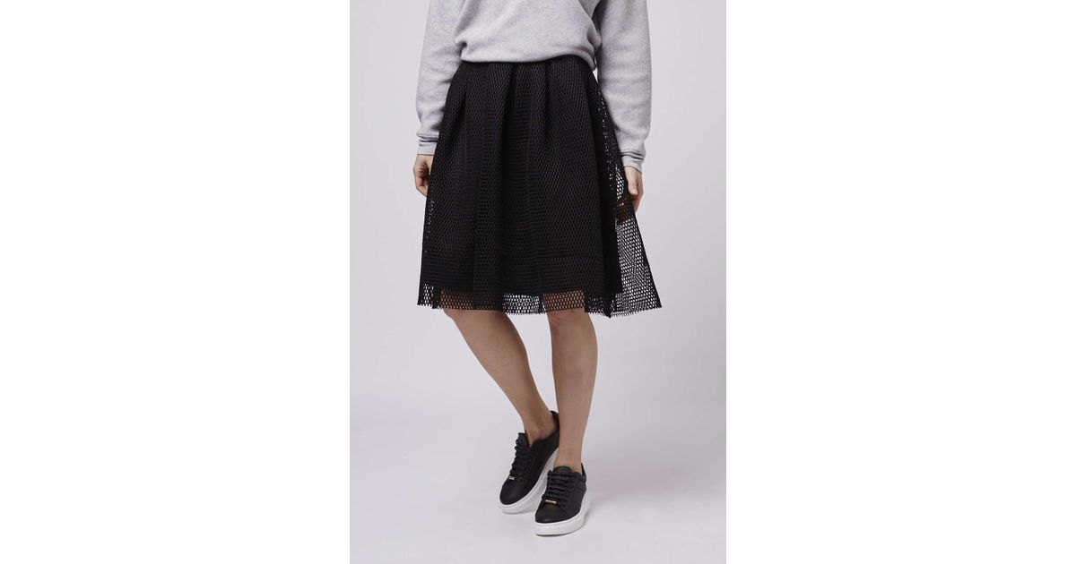 topshop airtex midi skirt in black lyst