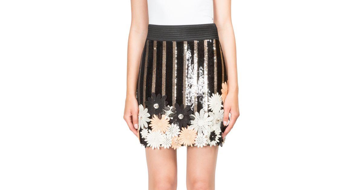 Lyst emanuel ungaro floral applique sequin mini skirt