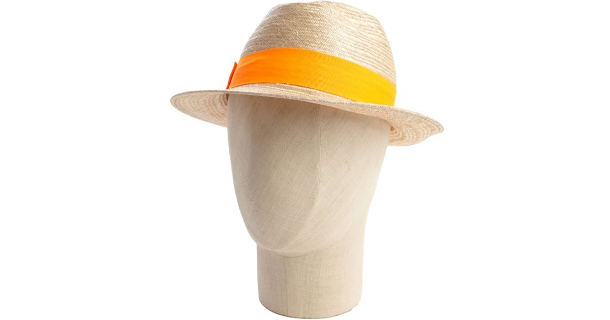 c01106d3210 Lyst - Hat Attack Khaki Straw And Neon Orange Banded Fedora in Orange