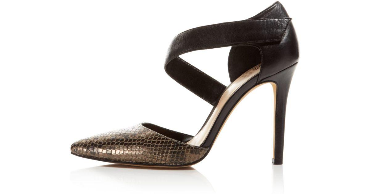 0561aa0455b Vince Camuto Brown Carlotte Asymmetrical Strap High Heel Pumps