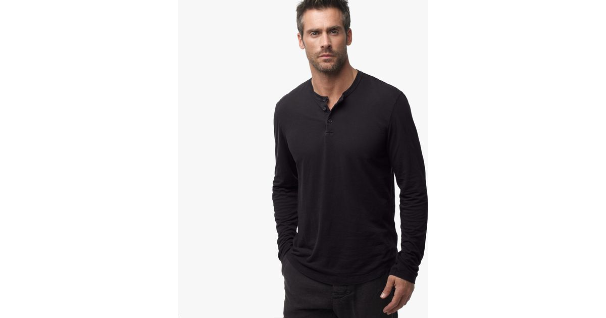 James perse clear jersey henley in black for men lyst for James perse henley shirt